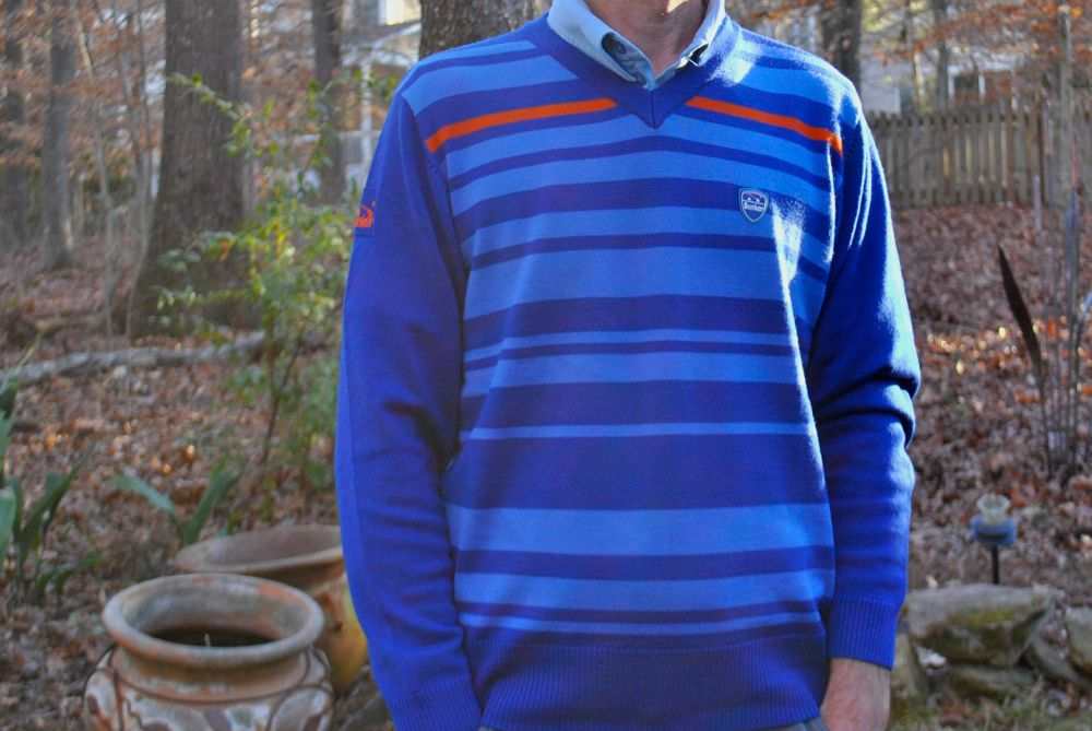 Bunker mentality Ceelo Stripe V Neck Merino Wool Golf Jumper